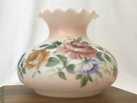 """Vtg Glass Lamp Shade Floral GWTW Student Oil 6.75""""-7"""" Fitter Pink Blue Roses 10"""""""