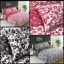 Animal Leopard Print Reversible Quilt Duvet Cover with Pillow Case Bedding Set