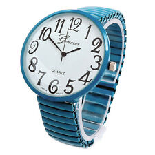 Teal Super Large Size Round Face Stretch Band Geneva Women's Watch