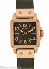 BRERA BWST23516S Square Rose Gold Steel Brown Silicone New Women Watch FAST SHIP