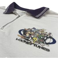 Vintage Looney Tunes Golf Polo Zip Shirt White XXL Bugs Taz Tweety Marvin Toons