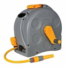 Hozelock 2-in-1 Compact Enclosed Hose Reel with 25 m Hose and Connectors, Assort