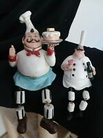 Kitchen Chef's Figures- Wood Window Sill or Shelf Sitting Chef's Set of 2