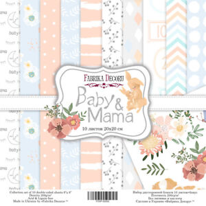 """8"""" x 8"""" scrapbooking paperpad cardstock Baby & Mama 10 designs x 2 sheets 200gsm"""