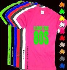 I LOVE THE 80s Unisex Pink T Shirt Neon Grn Print S-XXL