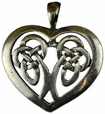 Celtic Knot Heart Pewter Amulet Necklace Cord Pendant Knotwork Goddess Love Spel
