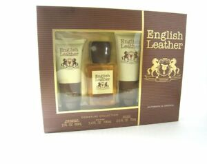 English Leather Cologne For Men By Dana - 3.4oz/100ml - 3Pc Gift Set -Brand New
