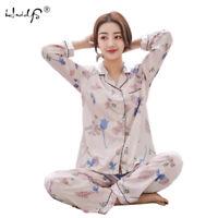 Ladies Stunning Printed Satin Silk Soft Comfort Pyjamas Long Sleeve Nightwear Pj