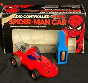 VINTAGE 1977 POWER COMMAND RADIO CONTROLLED SPIDER-MAN CAR WITH BOX WORKING!