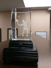 Tennis Player w Racket & Ball Rectangular 3D Hologram Clear Glass Paperweight