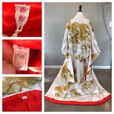 Vtg Signed Japanese Wedding Kimono Uchikake Dress Crane Clouds Boho Display 047