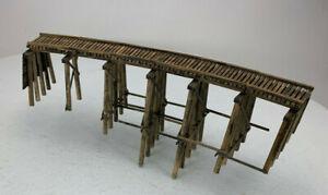 HO HOn3 Curved Trestle Bridge, Craftsman Structure Built, Very Nice IC102