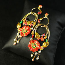 Boucles d`Oreilles Clous Anneaux Email Fleur Rouge Oiseau Noir Vert Fin  L6