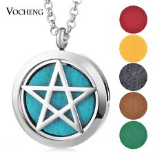 30mm Essential Oils Diffuser Locket Aroma Necklace Star with Pads VA-461
