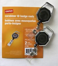 "Staples Carabiner ID Badge Reels, 2 Pack; 30"" Retractable Nylon Cord"