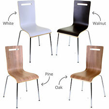 4 X Dining Chairs White Stacking Stackable Home Office Kitchen Indoor Seat