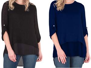 Ladies Womens Italian Lagenlook Split Back Button Chiffon Trim Blouse Shirt Top