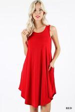 Womens  A-Line Sleeveless Swing Dress Round Hem Flared Long Tunic Dress S M L XL