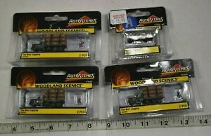 Lot 9-230 * N Scale 4 x Assorted Pkgs. Woodland Scenics Painted Figures/Vehicles