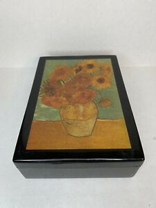 Vincent Van Gogh TRINKET BOX Artis Orbis Goebel Les Tournesols Sunflowers Black