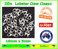 20x Silver Plated Metal Lobster Claw Clasps Clasp Hooks 10mm x 5mm Bracelet NEW