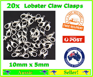 20x White Silver Plated Metal Lobster Claw Clasps Clasp 10mm x 5mm Bracelet
