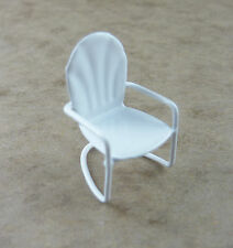 Dollhouse Miniature Garden Ouarter Scale 1:48 WHITE Metal Lawn Chair, 17284