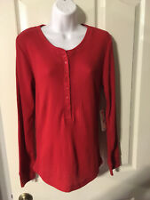 Faded Glory Women's Long Sleeve Henley, M, Red, NWT, Free Ship!