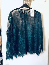 BNWT Zara Woman Green & Black Lacy Top with Zig-Zag Bottom Size Large