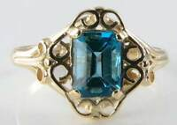 REGAL 9CT 9K GOLD BLUE TOPAZ VICTORIAN INS SINGLE STONE RING FREE RESIZE
