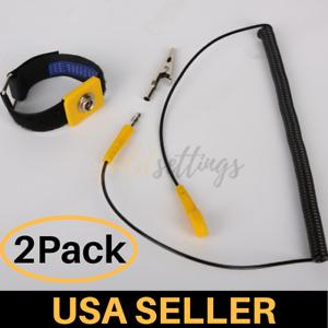 Anti-static Wrist Strap Band ESD Ground Bracelet Adjustable Yellow Black 5 FT