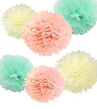 12Pcs Ivory Peach Mint Tissue Pom Poms Flower Decor Wedding Bridal Shower Party
