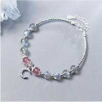 925 Sterling Silver Strand Bracelets Natural Labradorite/Moonstone Strawberry