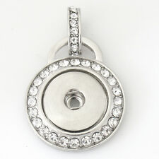 Pendant Rhinestone Round Necklace 18mm Fits Gingersnap Ginger Snap Snaps