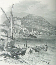 Taggia & San Stefano Liguria Genoa Italy 1875 Genova antique print 18 x 18 cm