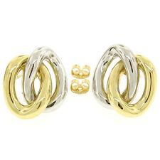 18K Zweifarbig Gold stationäre zwei ineinandergreifender oval Knoten Ohrstecker