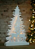 LED Christmas Tree Reindeer Decoration Pre Lit Silhouette White Wooden Stars