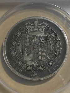 1823 Great Britain 1/2 Crown Type 2 Reverse Graded VF20 by ANACS!!