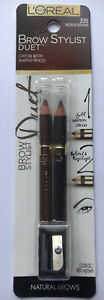 L'Oreal Custom Brow Stylist Brow Shaping Pencils Duet w/Sharpener Med Brown 335