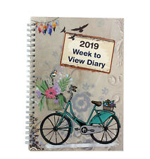 2019 A5 Week To View  Spiral Bound Diary Hardback Cover - Travel Art Cream