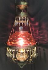 Antique B & H Cranberry Brass Library Parlor Chandelier Ceiling Lamp Electrified