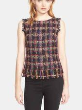 Trina Turk Oriel Tweed Knit Top Sleeveless SZ S Fringed Ethnic Print Multicolor