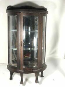 Vintage Butler Curved Glass Shelf Curio Mirror Display Wood Cabinet Knick Knack