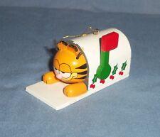 VTG 1981 Dakin Jim Davis Garfield Cat Christmas Ornament Wood Wooden Mailbox