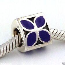 Authentic Pandora 4-Petal Flower Purple Enamel Bead Charm 790437en-02 New