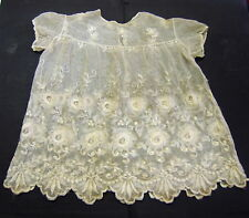 Dress Christening Doll Broderie Lace on Tulle Hand Made 1900