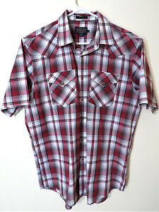Pendleton Men's Large Frontier Series Red Plaid S/S Western Pearl Snap Shirt