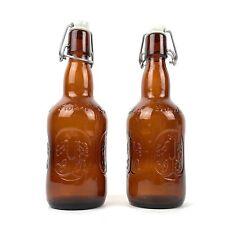 Vintage Grolsch Beer Bottles Amber Brown Glass Porcelain Flip Swing Top Lot 2