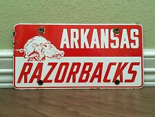 Arkansas Razorbacks Porcelain License Plate Retro Old School Vintage Hogs Rare!