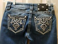 Miss Me Relax Boot Denim Distressed Jeans. Size 26 Rise 7.5 Waist 30X34L Hips 18